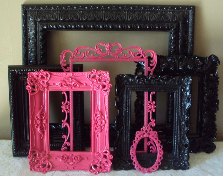 Open Picture Frames. Glamorous. Ornate Shabby Paris Chic Hot Pink Fuschia Black. Designer. Baroque. Wedding. Teen. Gift. 7 pc. Wall Gallery.