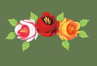 'Painted' traditional narrow boat roses using photoshop by Rose Hudson