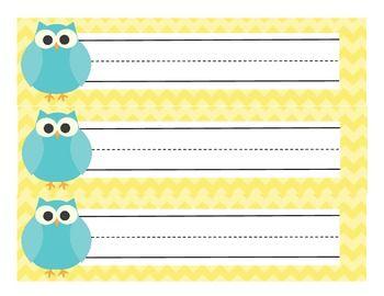 Owl Classroom Decor Yellow, Aqua, and Gray Chevron