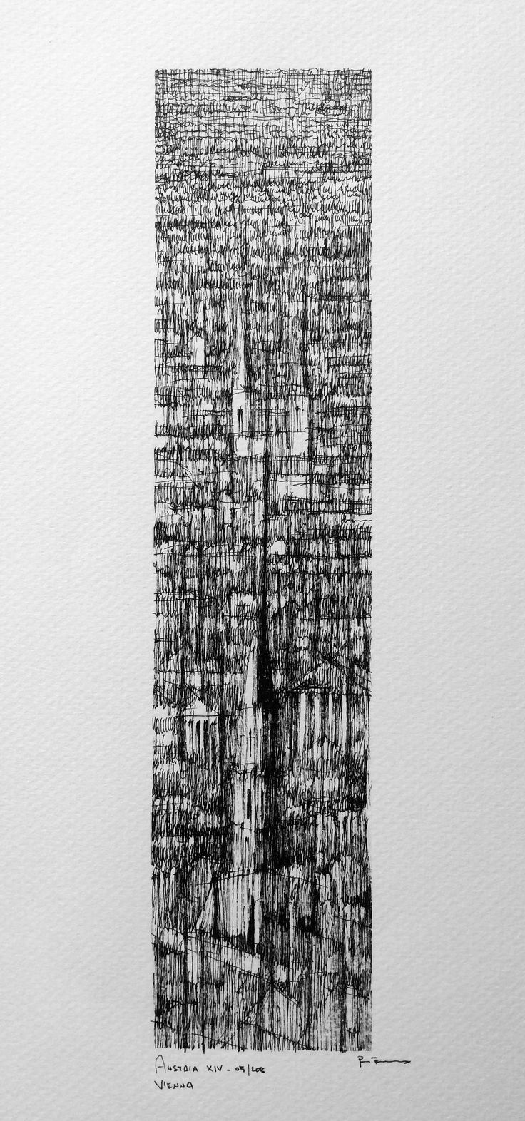 VIENNA VERTICAL II Drawing on paper, 20cmx40cm, ink,  © Pavel Filgas 2016