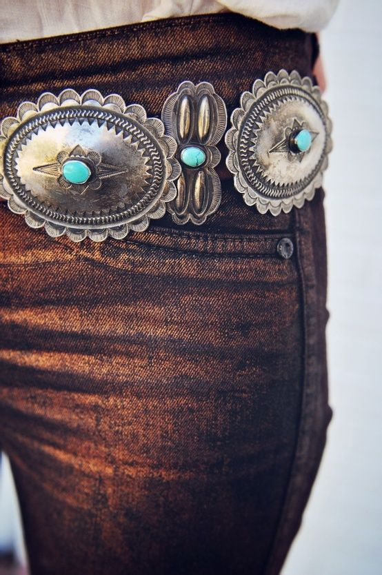 Copper Jeans with a Western Silver and Turquoise Belt, these are kind of…