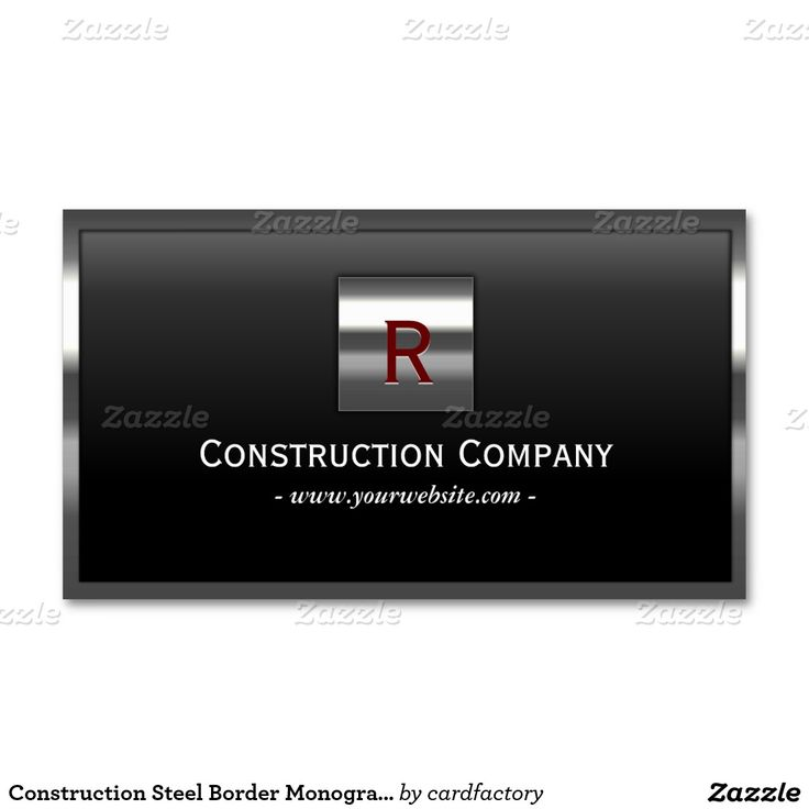 Construction Steel Border Monogram Professional Double-Sided Standard Business Cards (Pack Of 100)