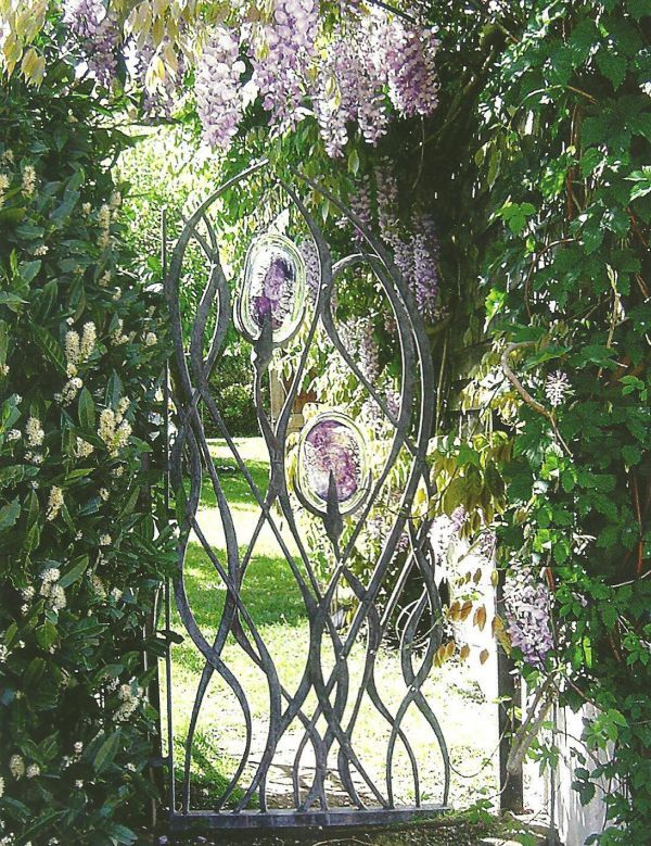 Forged steel and blown glass Garden Or Yard sculpture by artist Jenny Pickford titled: 'Wisteria Gate (Steel and Glass Outside Garden statues)'