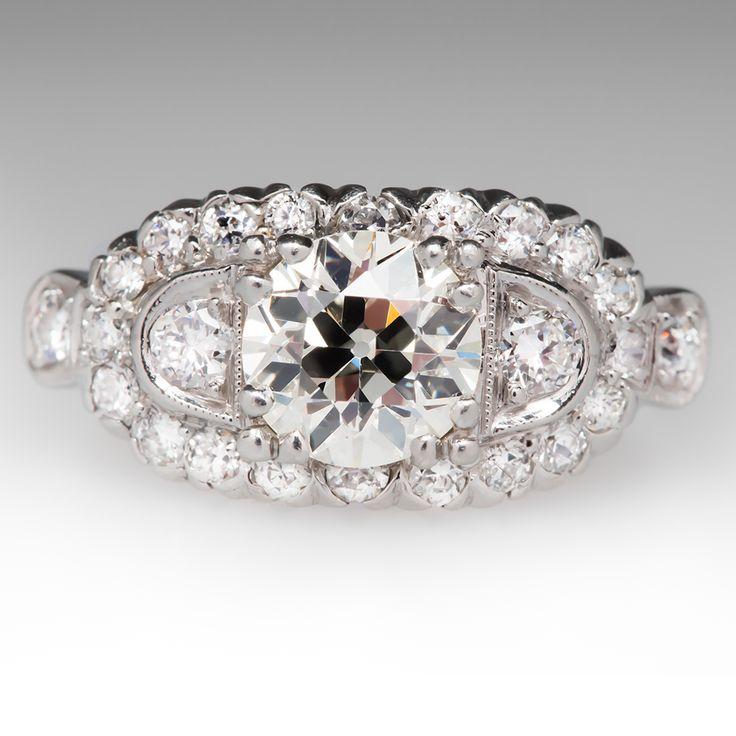 1.17 Carat Old European Cut Antique Diamond Ring; 1930s.