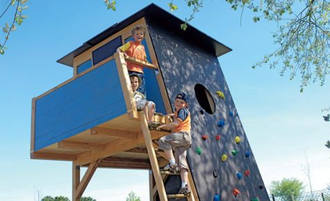 Playhouse with climbing wall
