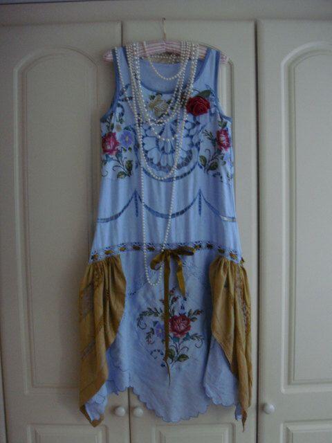 Amazing 1920's Style Antique Blue Cutwork Linen Drop Waist Antique Silk Gold Great Gatsby Dress by PrettyUnusuall on Etsy https://www.etsy.com/listing/479482504/amazing-1920s-style-antique-blue-cutwork