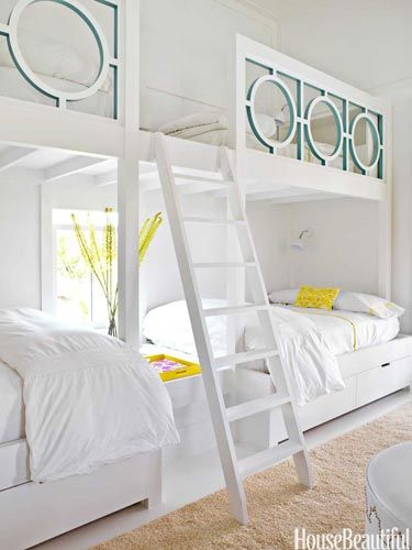 """""""We all feel more secure in smaller spaces,"""" Sally Markham says. """"This is a large bedroom for three girls. We designed built-in bunk beds that sleep 12, because their friends are always spending the night."""""""