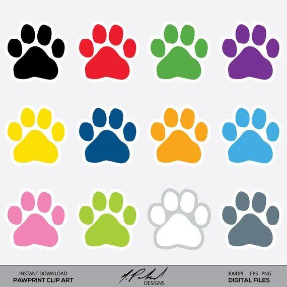 Paw Prints Digital Clip Art Paw Print Clipart Instant Etsy In 2021 Paw Print Clip Art Clip Art Paw Print