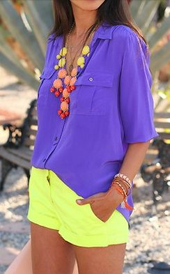 colors: Fashion, Yellow Shorts, Summer Outfit, Statement Necklaces, Color Combos, Summer Color, Color Blocks, Neon Color, Bright Colors