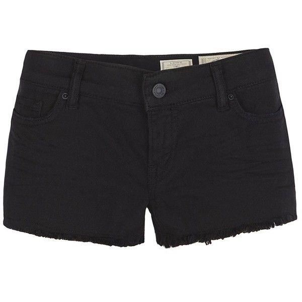 AllSaints Sheldon Lowe Shorts ($35) ❤ liked on Polyvore featuring shorts, bottoms, jet black, allsaints, low rise shorts, slim fit shorts, micro shorts and slim shorts