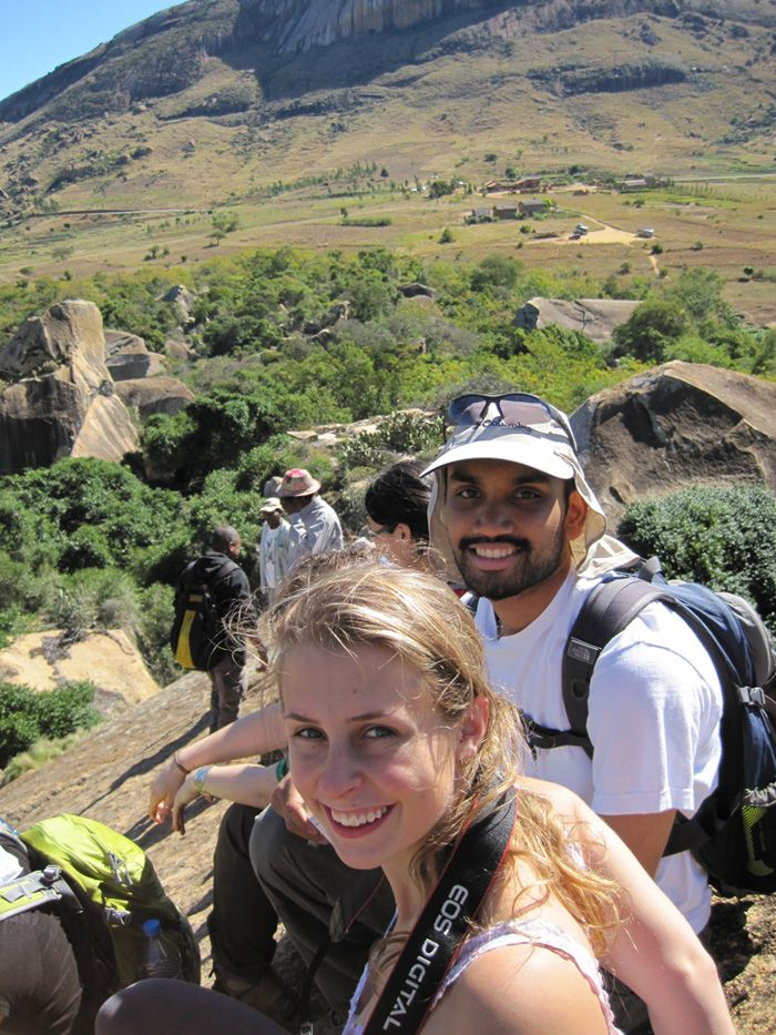 Students of Cal U taking a break from lemur watching, to take in the view at Anja Special Reserve near Fianarantsoa, Madagascar.