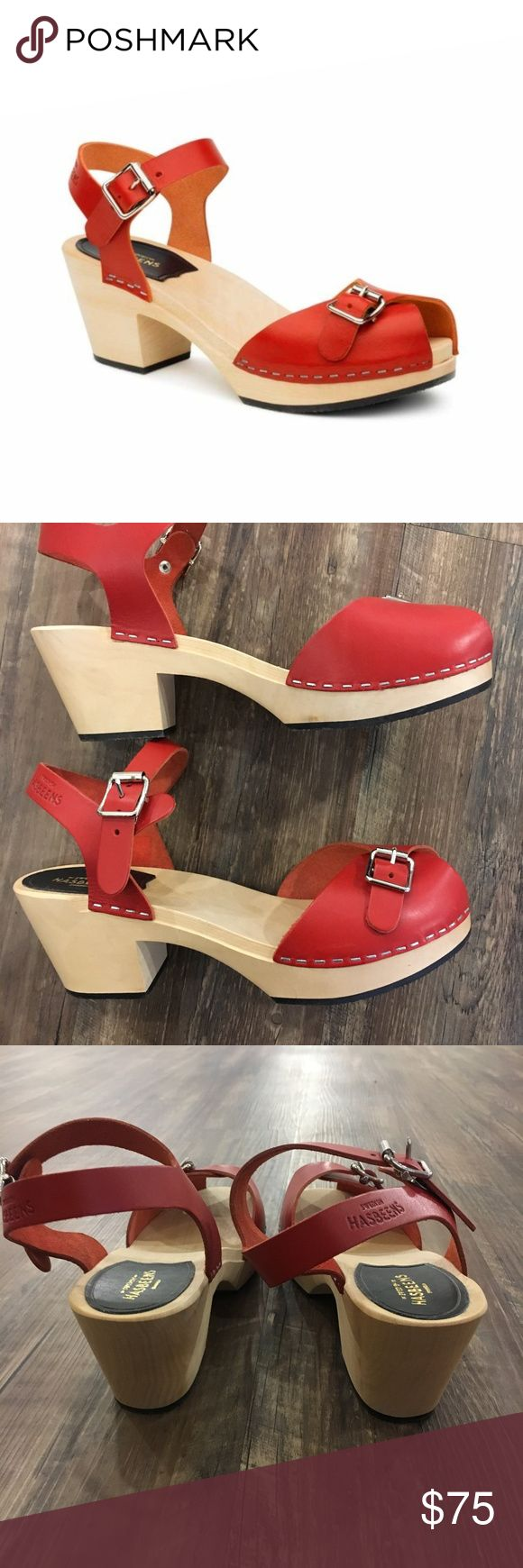 Swedish Hasbeens Pia High in Red Heel is 7 cm high (2.8 inches) Lime-tree wooden heel with rubber sole Italian natural grain leather, chrome free Swedish Hasbeens Shoes