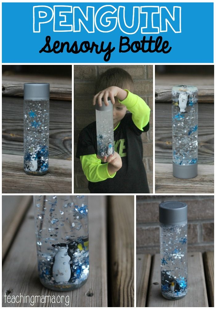 Penguin Sensory Bottle - This one is so fun! The penguin stays at the bottom and looks like a snow globe!