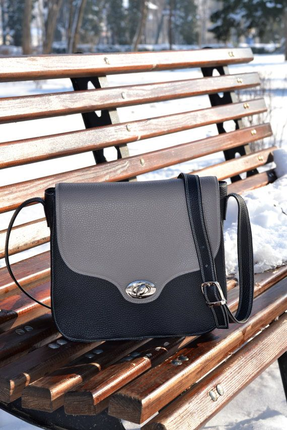 BLACK LEATHER HANDBAG Leather Messenger Bag Leather by CORYSBAGS