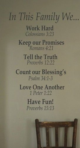 """For the Home Inspirational Christian """"In This Famil"""" Vinyl Wall Decal Home Decor"""