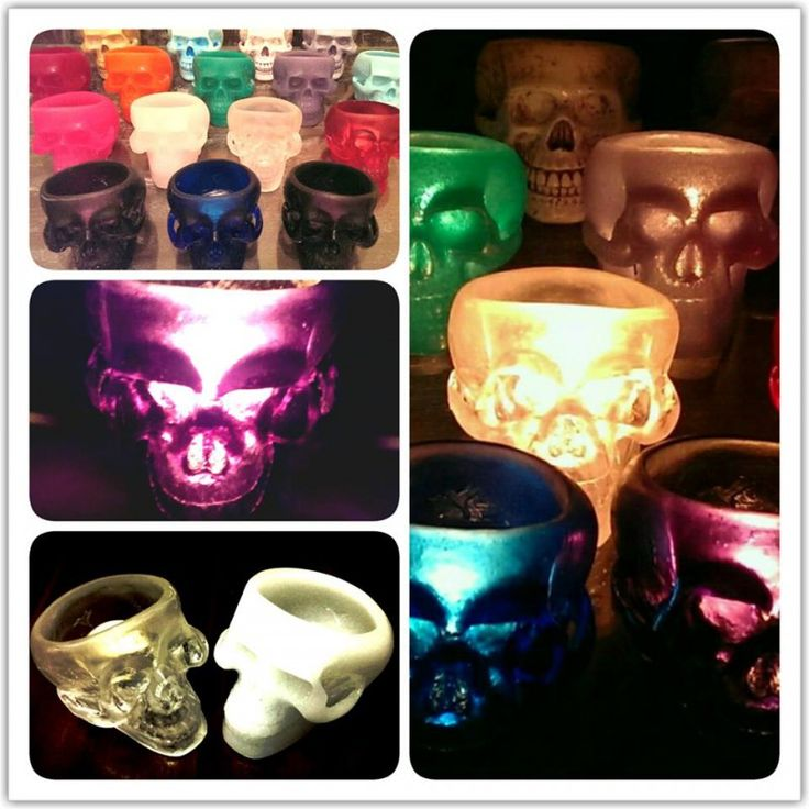 Skull tealight candle holder Original design and hand crafted, this beautiful skull tealight candle holder looks fantastic during the day and magnificent in its glowing splendour at night. A must have for any skull collector, tealight candle lover or fans of the quirky. It measures 8cm high, 11cm long and 8cm wide  AUD $50.00 each (Free Postage within Australia)
