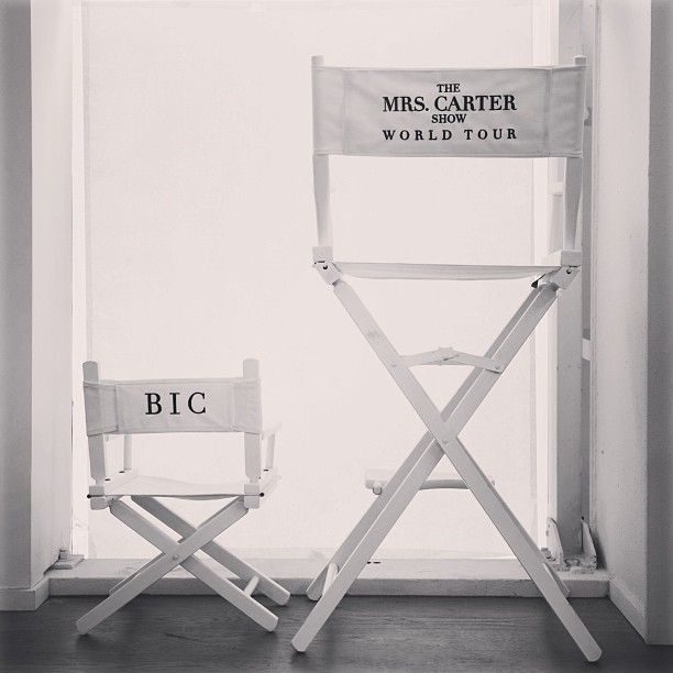 #Beyonce and Blue Ivy's backstage chairs #Queenbey (Photo by @Laura Wanefalea Knowles)