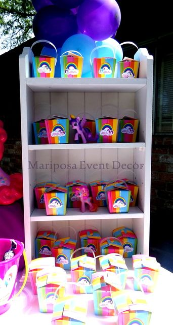 Rainbow favors at a My Little Pony Birthday Party!  See more party ideas at CatchMyParty.com!