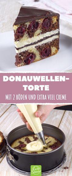 Donauwellen-Torte. Mit 2 Böden und exra viel Creme. #rezepte #kuchen #torte #do …
