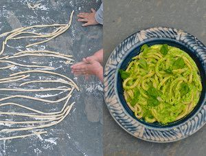 Easy pici and fun for kids: hand rolled pasta with cheesy pesto.