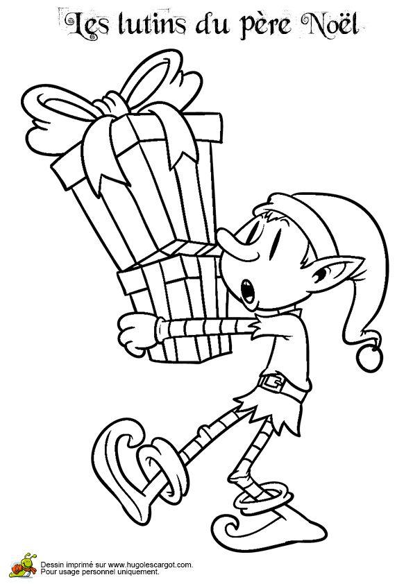 Coloriage lutin et une pile de cadeaux sur Hugolescargot.com - Hugolescargot.com