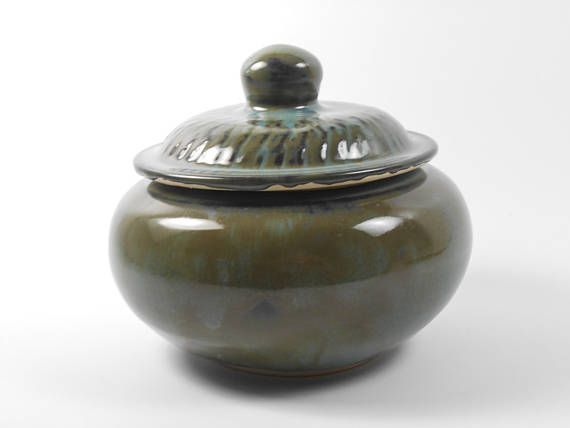 Keepsake urn  small pet urn  olive pottery jar  burial urn