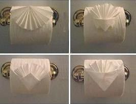 Toilet paper origami. Seriously. I thought it was fancy when I go to a hotel and they have folded it into a point. My mom likes to fold hers to a point. I'll have to practice and do this to her toilet paper next time I'm there. :)