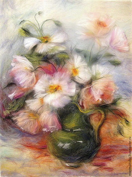 Flower Painting handmade. Livemaster - handmade. Buy Picture of wool Tenderness. White and pink poppies.Pale pink