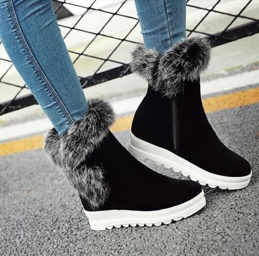 Women Zip Chic Faux Fur Ankle Boots Platform Hidden Heel Shoes Creepers Z1246