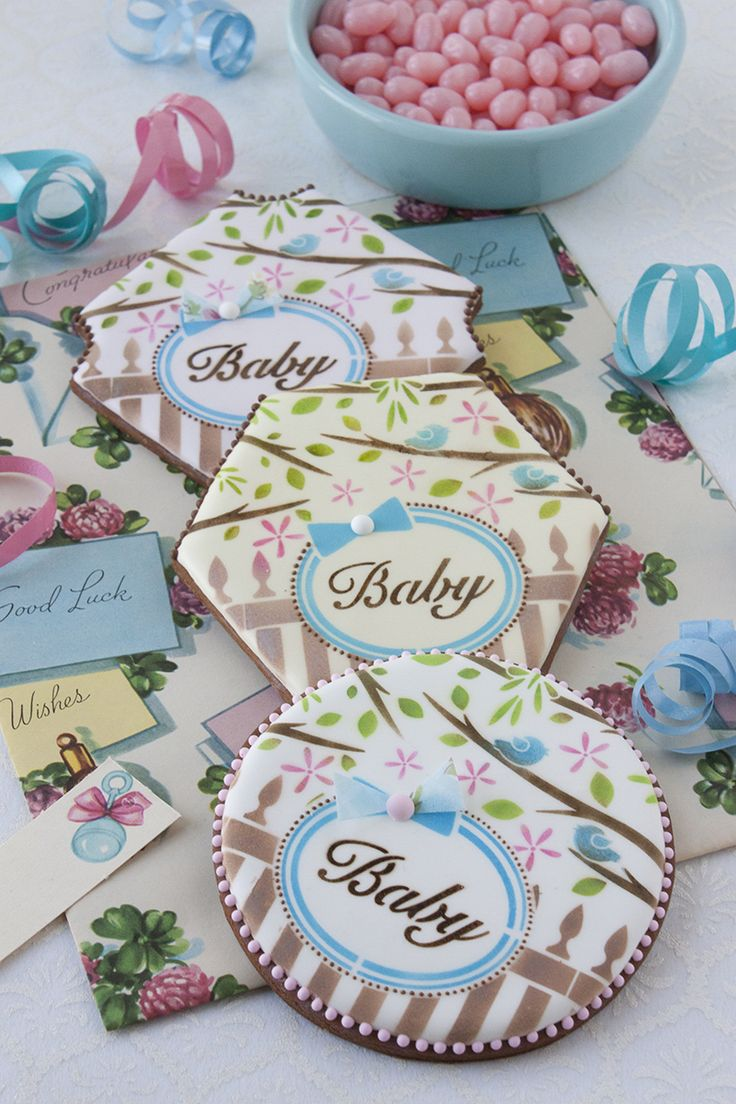 """Stenciled baby shower cookies using the """"Baby"""" stencil set from Julia M Usher's new Prettier Plaques cookie stencil line. To purchase this stencil set and others from Julia, visit: www.stencilease.com/juliausher.htm"""