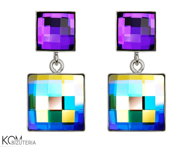 SQUARE - violet and rainbow AB - Swarovski and silver stud earrings.  Beautiful silver stud earrings with chessboard Swarovski crystals: heliotrope violet - when the light hits it just right it shines with blue shades and sparkling rainbow crystal AB that changes colours from blue, yellow to green or red.