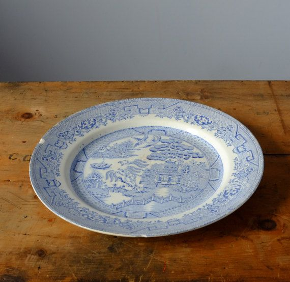 Willow Blue Plate Antique by Metoox on Etsy