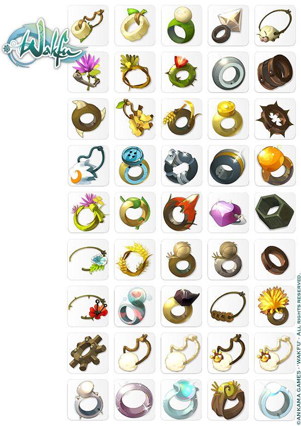 Wakfu MMORPG. Anneaux, Amulettes, Accessoires icons