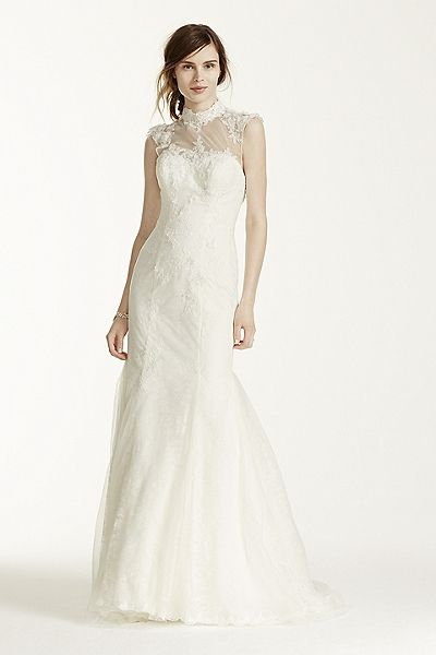David's Bridal - Melissa Sweet - Chantilly Lace Gown with Tulle High Neck Detail Style MS251092