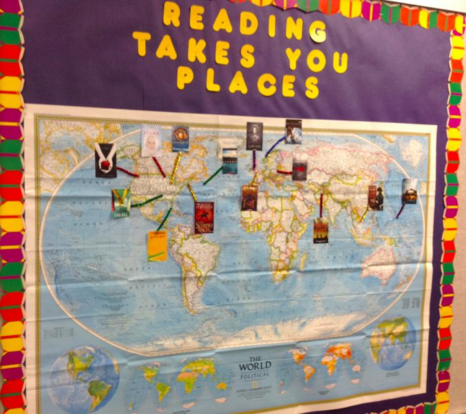 Reading Takes You Places display at DCG Middle School Library