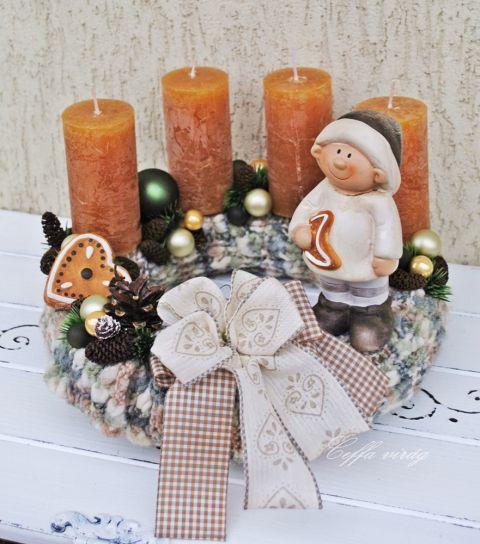 Kötött alapos adventi koszorú RENDELHETŐ !!!, Karácsonyi, adventi apróságok, Karácsonyi dekoráció, Meska