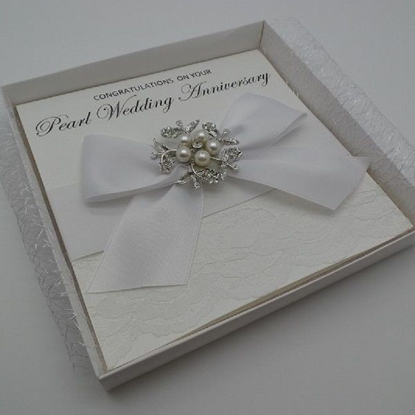 Personalised Luxury Pearl Wedding Anniversary Card 30th Approx 148mm Square Opening With Horizontal