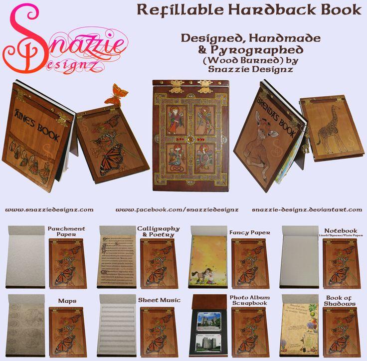 Handmade Refillable Hardback Books Journals by snazzie-designz