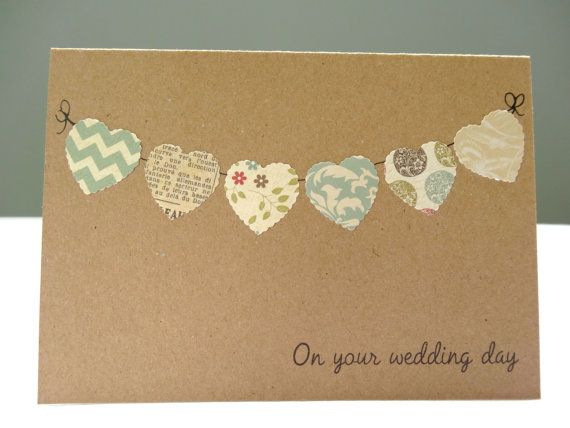 Wedding congratulations card shabby chic - personalised wedding card - rustic wedding day greeting card - heart bunting - free UK delivery