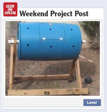 DIY compost tumbler made from plastic barrel