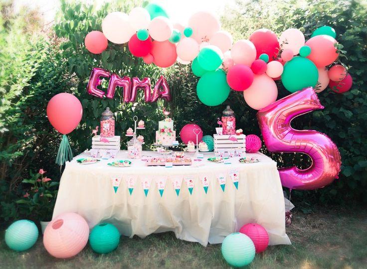 Tropical party Flamingo - Anniversaire flamant rose Emma 5 ans