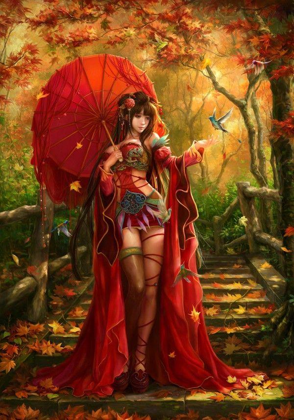 Girl illustration #art #fantasy digital art flowers Japanese