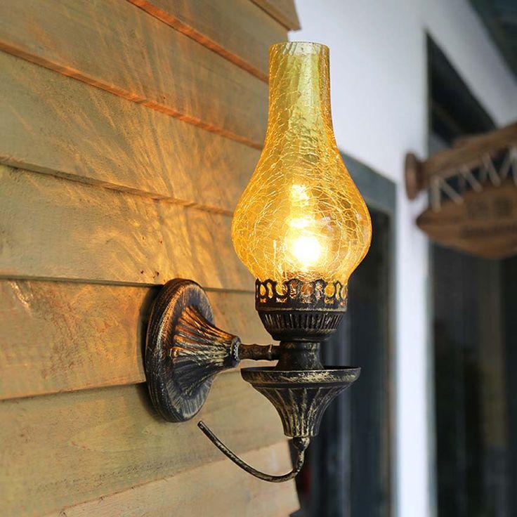 Nordic творческий старинные керосин бра 3 видов Трещины стекла абажур антикварной промышленное освещение для балкона ресторана деко(China (Mainland))