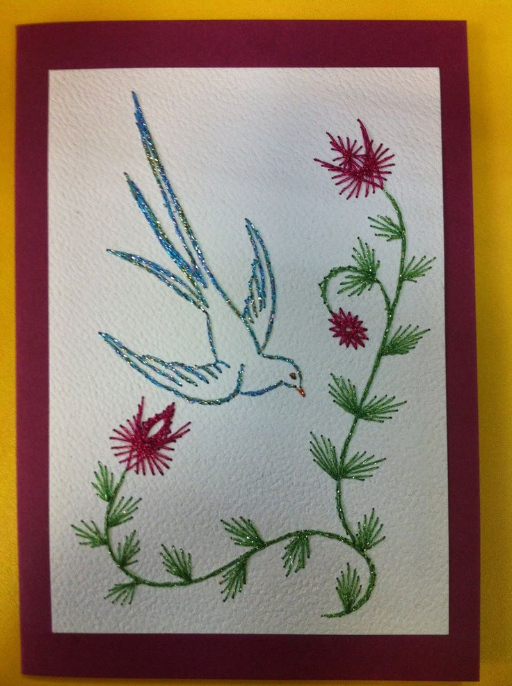 577 Best Cartes Brodes Images On Pinterest Paper Embroidery Card