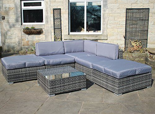Fresh Rattan Outdoor All Weather Garden Furniture Corner Sofa Set in Grey