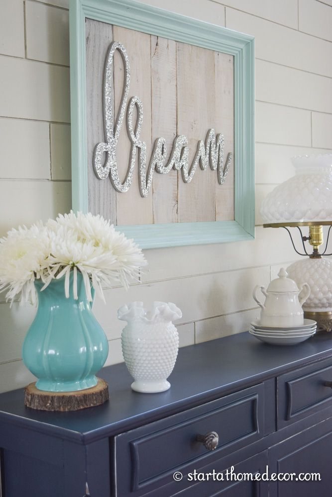 Custom refinished navy chest with Start at Home Decor's teal reclaimed wood dream sign