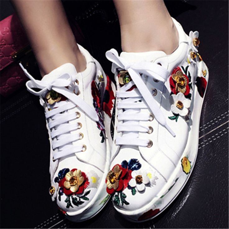 New Embroidery Women Casual White Flat Shoes Fashion Genuine Leather Platform Creppers Flats Espadrilles Zapatillas Deportivas