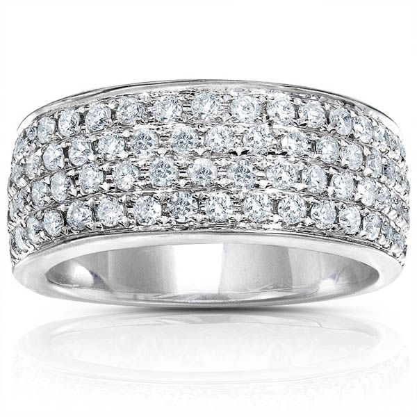 Pave Diamond Wedding Band | Diamond band: 14k white gold, 1ct TDW, 76 pave round diamonds