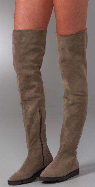 Diane Von Furstenberg Night Suede Over The Knee Boots in Brown (taupe)