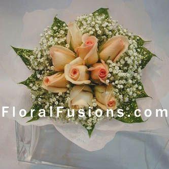 Apricot Roses & Gypsophilia Bouquet